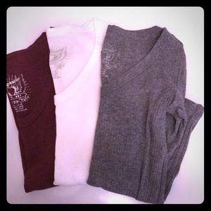 3 Aeropostale Shirts Together: Burgundy/White/Grey